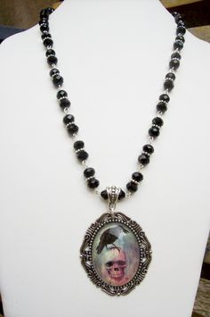 Raven and Skull Crystal Beaded Necklace Gothic, Altered Art, Unique Gift, Raven Jewelry by freakchicboutique on Etsy