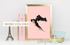 Croatia map print balkan art modern wall art gold pink black map Croatia print croatian art gold pink and black home decor travel poster