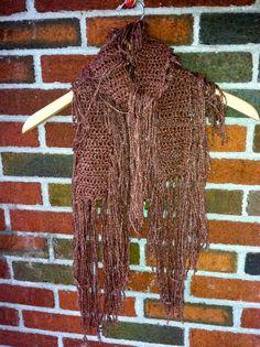 Fringe Crochet Shawl Raw Silk Crochet Wrap Original by Caheez