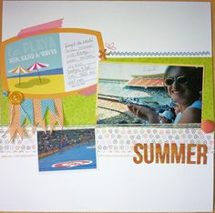 Kim's layout from the Lawn Fawn blog: May Arts + Lawn Fawn Week = Day 4  Bright Side paper, Belinda's Borders, Critters Down Under