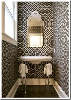 densely patterned wallpaper in small spaces for big impact instead of having to use heavy, space sucking art or furniture as interest pieces.