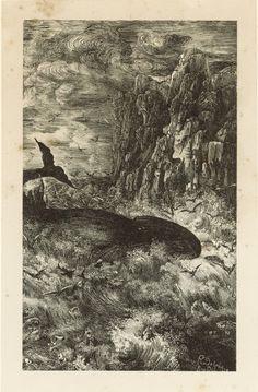 Rodolphe Bresdin (1822-1885), La Baleine et le fretin, 1868, illustration pour Les Fables et Contes par Hippolyte de Thierry-Faletans, lithographie, épreuve sur chine fixé, 16,2 x 9,8 cm. Estimation : 1 800 €. Vendredi 15 avril, salle 6 - Drouot-Richelieu. Ferri SVV. M. Lecomte.