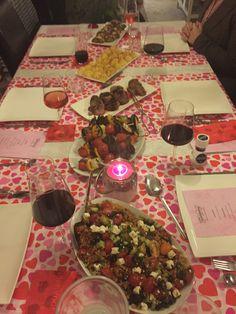 Valentijndiner, met o.a. orzosalade, eend en pommes duchesse.