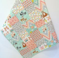 Woodland Baby Girl Quilt Hello Bear Deer by CarleneWestberg