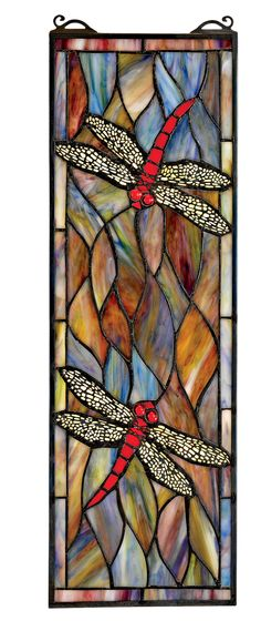 Tiffany Style Dragonfly Stained Glass - Victorian - Stained Glass Panels - by Design Toscano Dragonfly Stained Glass, Faux Stained Glass, Stained Glass Lamps, Stained Glass Designs, Stained Glass Projects, Stained Glass Patterns, Stained Glass Windows, Window Glass, Glass Partition