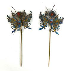 Pr Chinese Kingfisher Feather Pins : Lot 0086