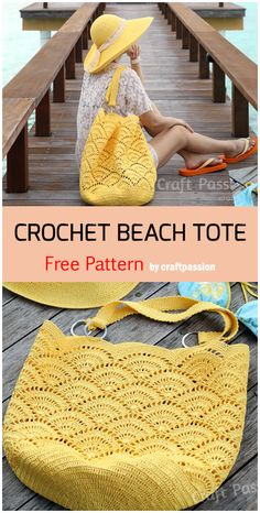 Crochet beach tote free pattern crochet crochetpatterns olive you baby free knitting pattern Crochet Beach Bags, Crochet Tote, Crochet Handbags, Crochet Purses, Knit Or Crochet, Crochet Crafts, Crochet Projects, Free Crochet, Fabric Crafts