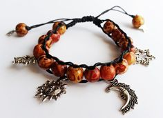 Items similar to Wooden beaded charm hippie bracelet. on Etsy Macrame, Miniatures, Charmed, Jewellery, Stars, Trending Outfits, Unique Jewelry, Bracelets, Handmade Gifts
