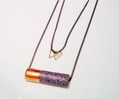 layered geometric double triangle necklace // by Byachadjewelry
