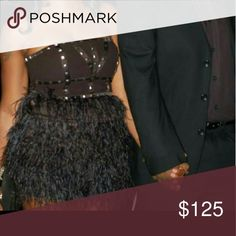 Party Dress Black Feather Dress with gold studs bebe Dresses Strapless
