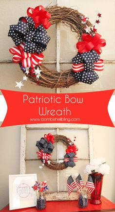 Patriotic Bow Wreath - So pretty and this tutorial makes the bows look really easy to make!