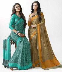Grey & Green/Yellow & Mehendi Green Color Crepe Office Wear Sarees : Prarthna Collection YF-38169
