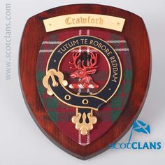 Crawford Clan Crest and Tartan Wall Plaque. Free worldwide shipping available