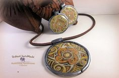 Indrani Handmade: Set pandant si cercei Cucuteni 1 Polymer Clay Jewelry, Bracelets, Handmade, Fimo, Hand Made, Bracelet, Arm Bracelets, Bangle, Bangles