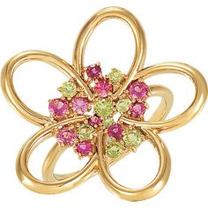 Peridot & Tourmaline Floral Design Ring - Available in Sterling Silver, 14K White Gold, 14K Yellow Gold - Item Number AZ71584J126