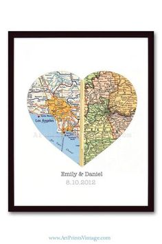 Easy decor or present idea. Half of the heart with the map of where each is from.