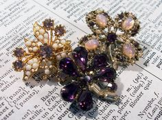VINTAGE Purple RHINESTONE Pins Brooches Three 3 Purple by punksrus, $12.50