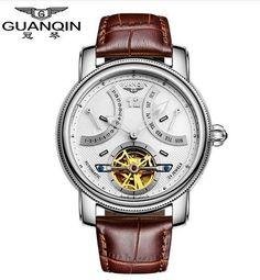 2016 Luxury Brand GUANQIN Automatic Mechanical Watches Men Waterproof Luminous Tourbillon Watch Calendar Leather Gold Wristwatch