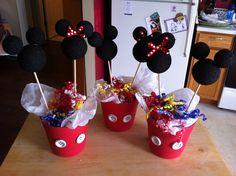 Mickey & Minnie party centerpieces..
