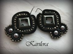 Black And Gray Soutache Earrings by KARILORA on Etsy
