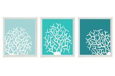 Coral Art Print Set - Aqua Teal Blue White Silhouette Modern Decor - Beach Nautical - Beach House Wall Art Home Decor Set 3 8x10. $42.00, via Etsy.