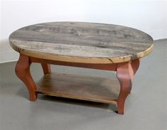 Old Oak Oval Coffee Table with Shelf - ECustomFinishes Distressed Wood Coffee Table, Barnwood Dining Table, Coffee Table With Shelf, Oval Coffee Tables, Barn Wood, Rustic Wood, Cabin Style Homes, Anna, Small Tables