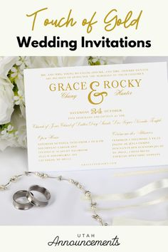 Make your wedding invitation more sophisticated by combining the elegance of typography and touch of gold. Simple Wedding Invitations, Touch Of Gold, Wedding Announcements, Pli, Falling In Love, Typography, Place Card Holders, Make It Yourself, Classic