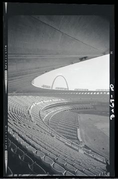 Photograph taken in January 1967 showing a view of the Gateway Arch from the stands at Busch Stadium. The stadium had been open for just one season. Photograph by Henry T. Mizuki. Mac Mizuki Photography Studio Collection, Missouri History Museum. | collections.mohistory.org
