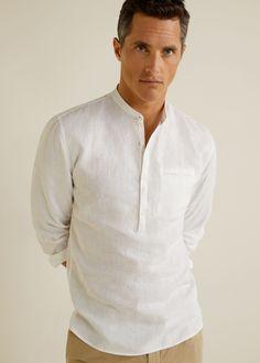 Regular-fit mao collar linen shirt - Men | Mango Man USA