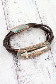 This pretty cross bracelet gives you a rustic chic look for your arm! Cowgirl Jewelry, Religious Jewelry, Rustic Chic, New Fashion, Arm, Fashion Jewelry, Turquoise, Personalized Items, Bracelets