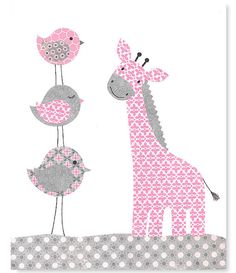 Grey and Pink Nursery Bird Nursery Decor Giraffe Art Print Girl Nursery Art Cute Nursery Art 8 x 10 or 11 x 14 Prints or Canvas Prints Baby Room Art, Baby Art, Baby Room Decor, Nursery Decor, Nursery Room, Bird Theme Nursery, Giraffe Nursery, Giraffe Baby, Baby Dekor