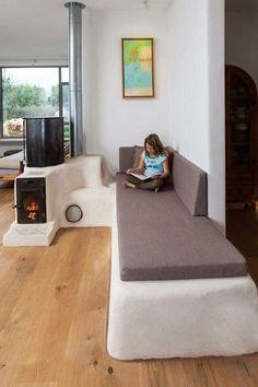 Rocket Mass Heater w/ built in warm seating
