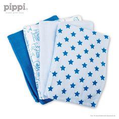 4er-Set: Spucktücher Lemvig Sterne und Waldtiere blau