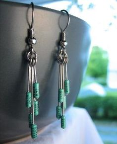 Pretty Green Resistor Earrings repurposed Computer Parts -- matches necklace