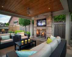 Outdoor Fireplace Patio, Outdoor Kitchen Patio, Outdoor Fireplace Designs, Small Backyard Patio, Backyard Covered Patios, Covered Patio Design, Pavillion, Backyard Pavilion, Outdoor Living Rooms