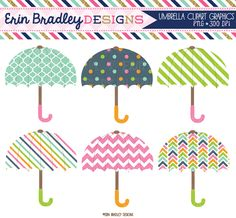 814d921cf Umbrella Clipart Graphics in Pink Green Orange Blue Personal & Commercial  Use Girls Baby or Shower
