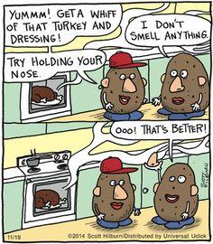 The Argyle Sweater Comic Strip, November Funny Cartoon Pictures, Cartoon Jokes, Funny Cartoons, Funny Comics, Funny Jokes, Turkey Jokes, Argyle Sweater Comic, Mr Potato Head, Potato Heads