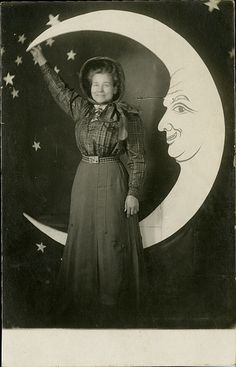 Mamma in Her Bonnet - Paper Moon Real Photo Postcard Moon Photos, Moon Pictures, Moon Pics, Paper Moon, Sun Moon, Stars And Moon, Vintage Photographs, Vintage Photos, Shoot The Moon