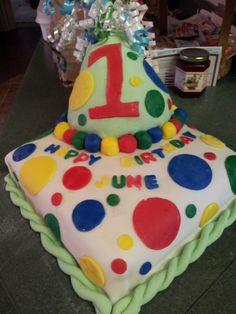 june's first birthday cake