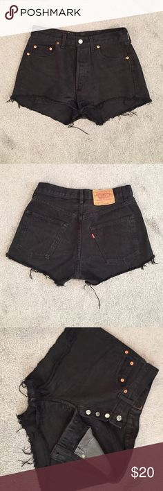 Levi's high-waisted jean shorts Black vintage Levi's jean shorts! My waist size is 27 and it is a bit big for me. If you're a size 27-28 with a butt, it'll fit you perfectly. Levi's Shorts Jean Shorts