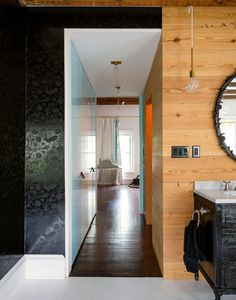 Love the mix of wall mediums