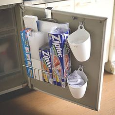 Now that we do not use the knife rack at the door of the prep counter cabinet, it would be a good idea to put a magazine holder there to hold foil, cling wrap and the like Home Decor Kitchen, Diy Kitchen, Kitchen Storage, Kitchen Organisation, Organization Hacks, Best Bath, Diy Storage, Room Interior, Shabby