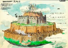 Film: Castle In The Sky ===== Background Design: Laputa ===== Production Company: Studio Ghibli ===== Director: Hayao Miyazaki ===== Producer: Isao Takahata ===== Written by: Hayao Miyazaki ===== Distributed by: Toei Company Hayao Miyazaki, Castle In The Sky, Totoro, Art Studio Ghibli, Studio Art, Ghibli Movies, Animation Background, Illustrations, Ciel