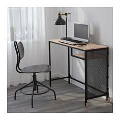 IKEA FJALLBO Black Laptop table FJÄLLBO Laptop table IKEA With this rustic metal and solid wood desk you get a flexible and functional workspace which fits in a small space.