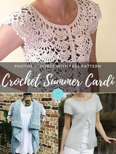 While we all dream about warm breeze and sunshine, designers create free patterns for Crochet Summer Cardis. Crochet Jumper Pattern, Crochet Thread Patterns, Crochet Shirt, Crochet Cardigan, Crochet Sweaters, Crochet Vests, Knitting Patterns, Sewing Patterns, Crochet Winter