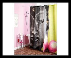 Buddha Shower Curtain With reinforced metal eyelets. Features a calm image of the face of a traditional Buddha statue and flower. Colourful and striking. Size 180 x Bathroom Accessories, Buddha, Shopping, Color, Shower Curtains, Hooks, Oriental, Bee, Statue