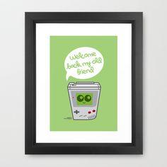 Welcome Back My Old Friend (Game boy) Framed Art Print by Kioshi Shimabuku - $37.00