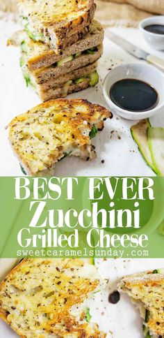 Zucchini Grilled Cheese is a ridiculously easy and tasty sandwich. This vegetarian recipe allows you to dip your grill cheese in balsamic vinegar for a flavour sensation. This is the BEST EVER zucchini grilled cheese Vegetarian Sandwich Recipes, Vegetarian Grilling, Grilled Cheese Recipes, Grilling Recipes, Vegan Zucchini Recipes, Healthy Grilling, Vegetarian Lunch, Barbecue Recipes, Barbecue Sauce