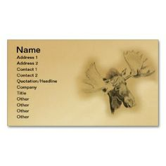 Moose Head Sketch Business Card  printed on a gold colored background.  Other colors available.