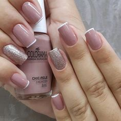 What manicure for what kind of nails? - My Nails Glitter Gel Nails, Cute Acrylic Nails, Cute Nails, Elegant Nails, Stylish Nails, Trendy Nails, Gel Nail Art Designs, Gel Nagel Design, Bridal Nails